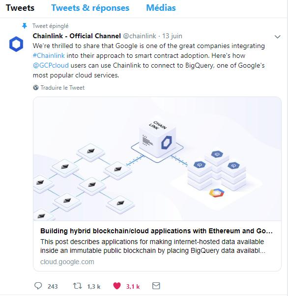Google Cloud intègre l'Oracle décentralisé Chainlink et sa